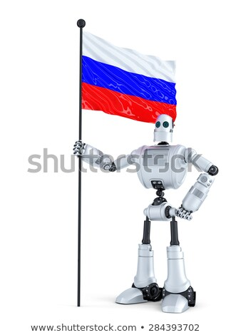 android robot standing with flag of russia isolated contains clipping path stock photo © kirill_m