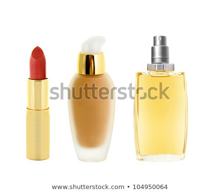 Batom vermelho dourado tubo make-up perfume Foto stock © tetkoren
