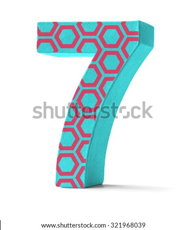 Colorful Paper Mache Number on a white background  - Number 71 Stock photo © Zerbor