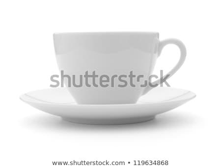 small white cup of cappuccino coffee Stock photo © ozaiachin
