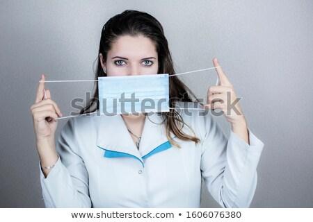 vrouwen · geneeskunde · masker · koud · griep · ziekte - stockfoto © paha_l