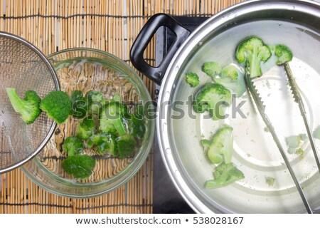 forró · főtt · brokkoli · közelkép · üveg · tál - stock fotó © oleksandro
