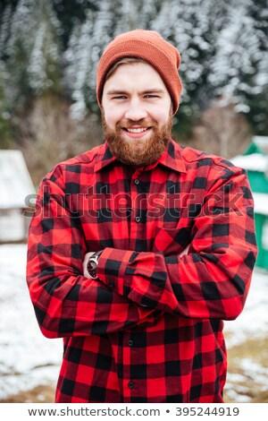 jeunes · élégant · barbe · moustache · regarder - photo stock © deandrobot