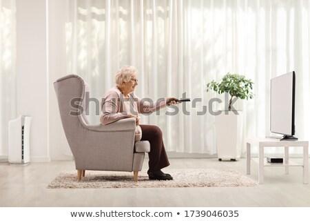 Mulher sessão sofá controle remoto asiático vetor Foto stock © RAStudio