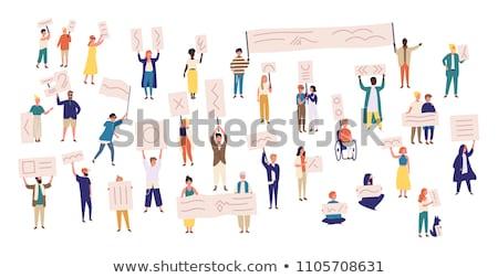 Férfi plakát fehér virág papír kezek Stock fotó © dmitroza