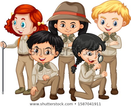 Boy and girl in safari outfit Stock photo © bluering