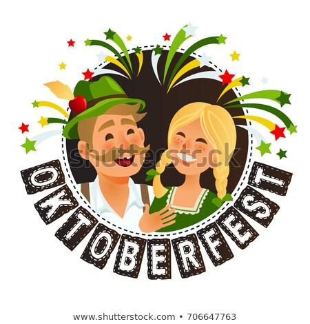 lány · Oktoberfest · hagyományos · ruházat · sör · nők - stock fotó © khabarushka