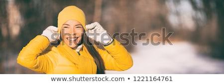 Happy winter hat and gloves Asian girl smiling Stock photo © Maridav