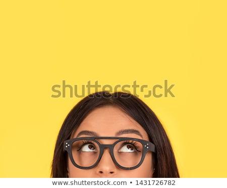 cabeza · tiro · mujer · pensando · retrato · sonriendo - foto stock © sapegina