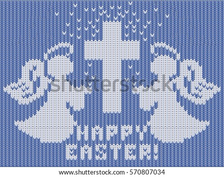 Happy Easter knitted card, angels and cross, vector illustration Stock photo © carodi