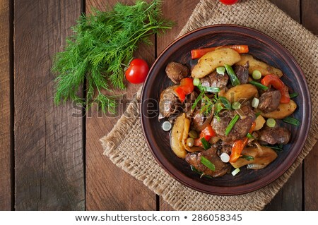 iştah · açıcı · et · bulaşık · peynir · dilimleri · hizmet - stok fotoğraf © simply