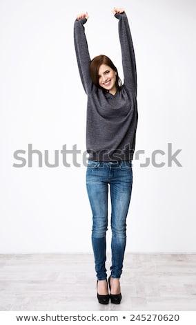 vector · meisje · opgeheven · handen · silhouet · haren · Blauw - stockfoto © rastudio