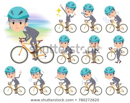 Grijs pak zakenman slechte fiets sport Stockfoto © toyotoyo