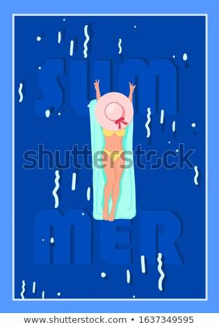 Cartoon подростков купальник знак иллюстрация подростка девушка Сток-фото © cthoman