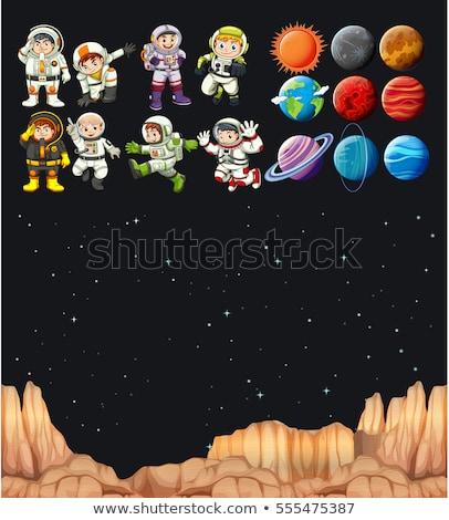 Scena wiele planet galaktyki ilustracja tle Zdjęcia stock © colematt