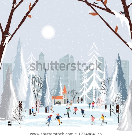 trees and people winter season holiday vector stock photo © robuart