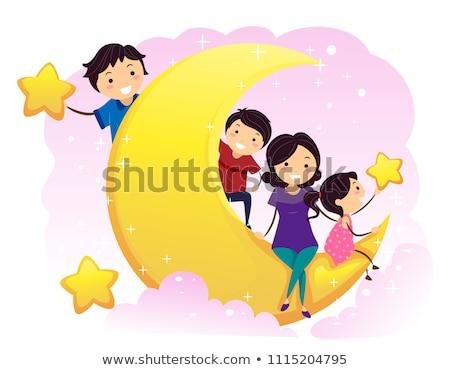 Stickman Kids Stars Illustration Stock photo © lenm