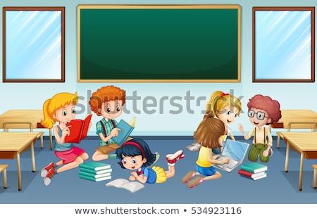 子供 · 読む · 図書 · 実例 · 幸せ · 座って - ストックフォト © colematt