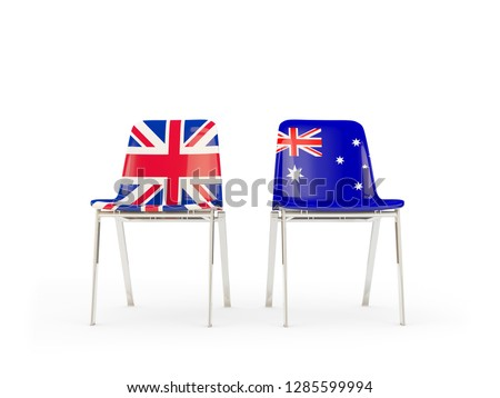 Two chairs with flags of UK and australia isolated on white Stock photo © MikhailMishchenko