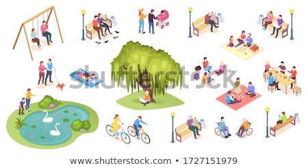 Family People in City Park Vector Illustration Stock photo © robuart