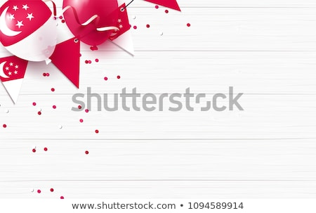 Stock photo: Singapore flag in wooden frame
