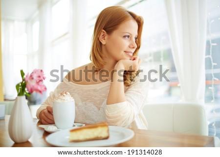 gülen · güzel · genç · kadın · yeme · beyaz - stok fotoğraf © andreypopov