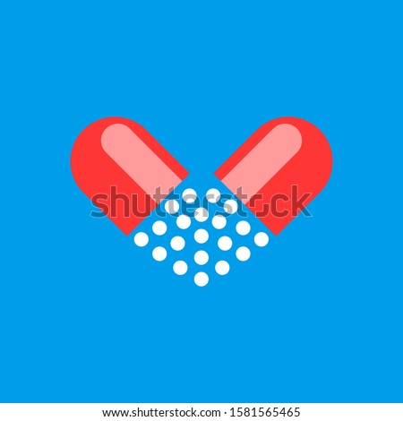 Medical heart pill icon. Love pill concept. Pharmacy medicine drug symbol. Vector illustration isola stock photo © kyryloff