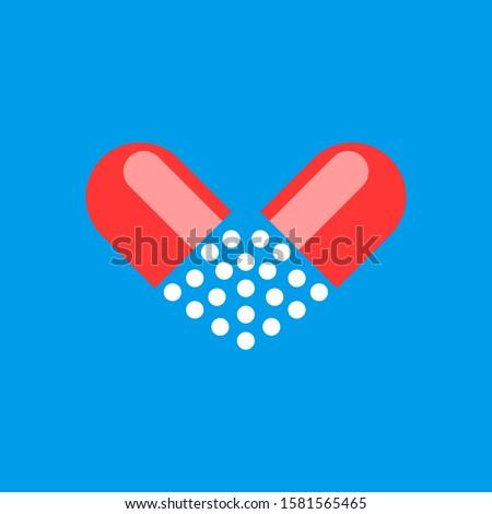 Stock fotó: Orvosi · szív · tabletta · ikon · szeretet · gyógyszertár