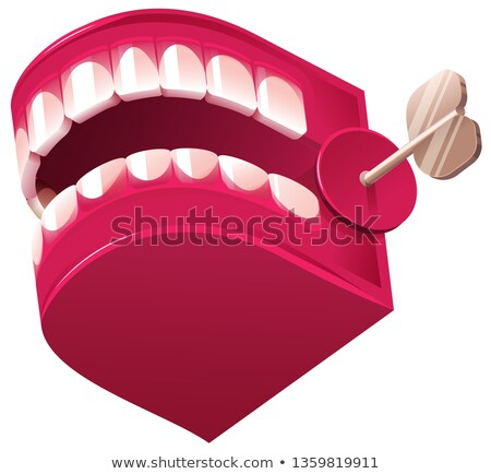 Funny denture clockwork jaw surprise toy isolated on white Stock photo © orensila