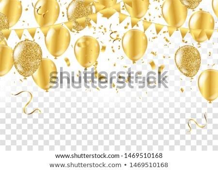 Parlak altın balonlar konfeti poster vektör Stok fotoğraf © pikepicture