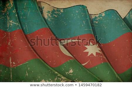 Régi papír nyomtatott integet zászló Azerbajdzsán illusztráció Stock fotó © nazlisart
