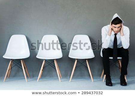деловой · человек · столе · голову · таблице · служба · бизнесмен - Сток-фото © andreypopov