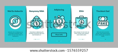 Fake Money Onboarding Elements Icons Set Vector Stock photo © pikepicture