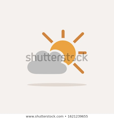 Sun and clouds. Icon with shadow on a beige background. Weather vector illustration Stock photo © Imaagio