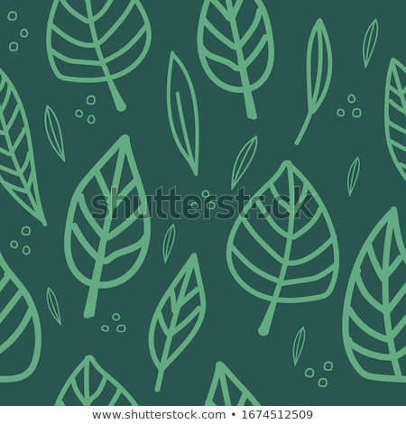 Hand-drawn leaves on green, eco seamless pattern Stock photo © evgeny89