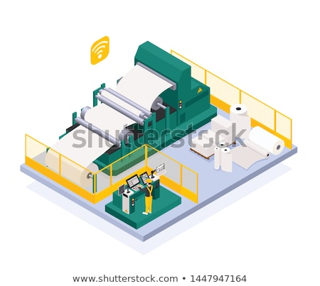 Wood Production Plant Isometric Icons Set Vector Stock photo © pikepicture