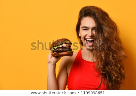 Frau Essen Cheeseburger Essen Mund Haut Stock foto © photography33
