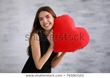 kadın · kırmızı · yastık · güzel · genç · kadın · beyaz - stok fotoğraf © grafvision