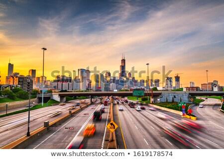 Foto stock: Centro · da · cidade · Chicago · manhã · de · manhã · cedo · escritório · edifício