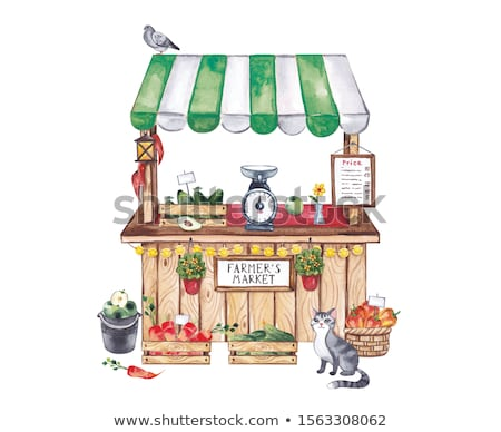 Grocery store with pigeon Stock photo © d13