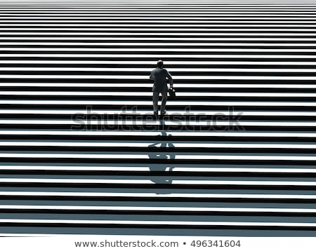 3d business people running up a stair. Leadership concept 	 stock photo © designers