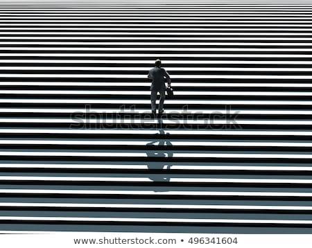 3D gens d'affaires courir up escalier Photo stock © designers