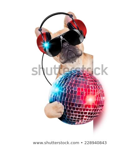 disco chien bulldog casque couter de la musique photo stock javier brosch. Black Bedroom Furniture Sets. Home Design Ideas