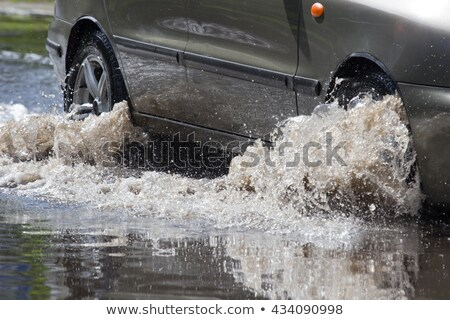 Powódź drogowego spuchnięty rzeki dróg mostów Zdjęcia stock © ondrej83