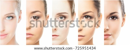 collage of a beautiful woman with perfect clean skin Stock photo © deandrobot