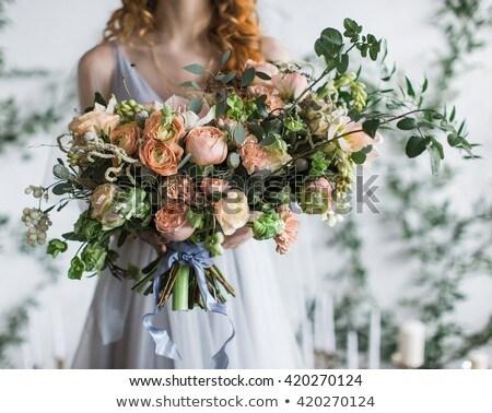 boeket · rozen · ringen · schotel · vorm - stockfoto © sfinks