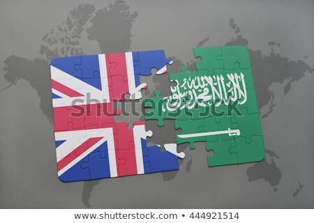 Anglia Szaúd-Arábia zászlók puzzle vektor kép Stock fotó © Istanbul2009