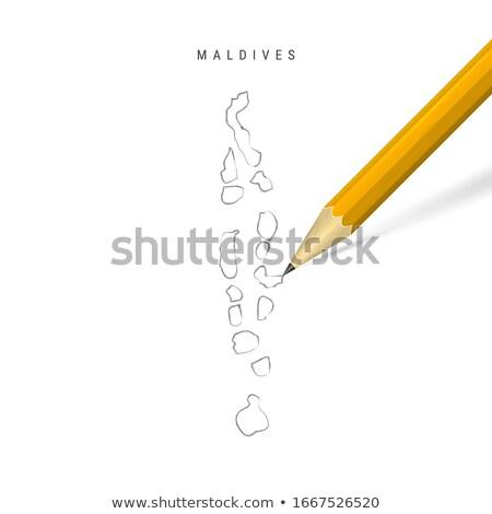 いたずら書き 地図 モルディブ 旅行 シルエット 風 ストックフォト © ojal