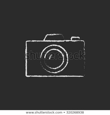 Kamera redőny ikon rajzolt kréta kézzel rajzolt Stock fotó © RAStudio