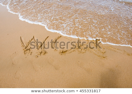 Foto stock: Sol · escrito · trabalhar · areia · praia